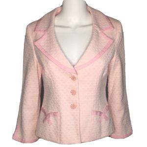 Nanette Lapore Womens 6 Pink Textured Jacket